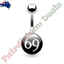 316L Surgical Steel Belly Ring with 69 Logo