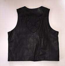 Mens 2XL HARLEY-DAVIDSON Motorcycles Black Leather Vest Embossed Excellent