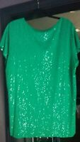 NEW Isaac Mizrahi Live! 1X Mint Green Sequin T-Shirt..Chk all the Style Options!