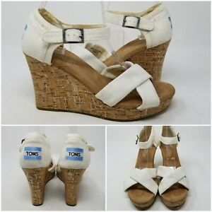 Toms White Cork Wedge Heel Canvas Ankle Slip On Sandal Slides Women's Size 6.5 W