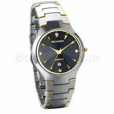Men Luxury Classical Tungsten Carbide Rhinestone Quartz Date Wrist Watch Watches