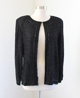 Vtg Black Silk Beaded Sequin Evening Jacket Size M Formal Party