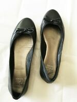 SAKS FIFTH AVENUE Size 8 M Black Leather Bow Ballet Flats Genuine Leather Soles