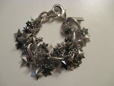 Used Coach Bracelet, Links, Chains, Silver and Gray Stars, Rhinestones