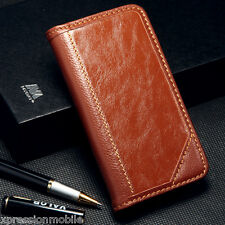 For Samsung Galaxy Note 5 Genuine Leather Flip Wallet Case Cover Pouch BROWN