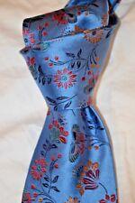 """$175 NWT DUCHAMP LONDON Slate Blue BUTTERFLY garden 3.4"""" English woven silk tie"""