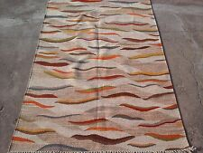 Handwoven Wool Cotton Grey geometric abstract Dhurrie Rug Flatweave 5' x 8'