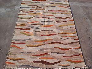 New 100% Wool Hand Woven Flat-Weave 5x8 Kilim Dhurrie Oriental Area Rug Carpet