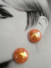 ORECCHINI CLIP TONDI PLASTICA ROSA CANGIANTE ANNI 70 vintage earrings- J8