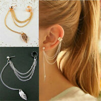 Women Boho Ear Stud Clip Earrings Bohemian Gold Silver Tassel Chain Jewelry