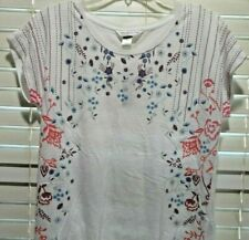 NWT Petite Small Christopher & Banks Tshirt Tee Floral Design Short Cap Sleeves