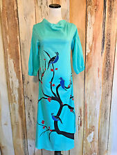 BeechTree Pakistan Kurta Dress Tunic Kaftan Turquoise Birds Cotton sz 8 NWOT!