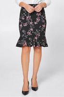 Target Collection Women's Floral Frill Pencil Skirt Size 16 Zip Closure