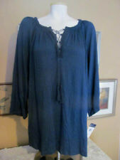 NWT~CHAPS Midnight Blue Smock Peasant Shirt Top Boho Chic~3/4 Sleeve~Plus 1X