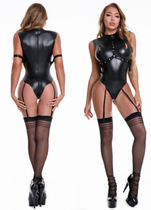 Women shiny PU leather zipper cross crotch catsuit Bar Jumpsuit Costume Clubwear