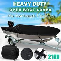 4.3m-4.5m Trailerable Heavy Duty Open Boat Cover Fishing Waterproof 210D