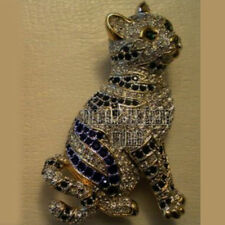 Antique Finished 6.79cts Rose Cut Diamond Sapphire Jewelry Silver Cat Brooch Pin