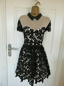 """Definitions size UK-14 Lined Black/Ivory Fit & Flare Occasion Dress VGC BUST 38"""""""