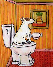 Bull Terrier Dog art Print bathroom american Jschmetz fine folk pop art 8x10