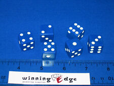 NEW 12 BLUE DICE w/ WHITE PIPS 16MM FREE SHIPPING BUNCO YAHTZEE CRAPS DICE GAMES