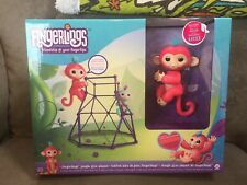 New Authentic WowWee Fingerlings Aimee the Pink Baby Monkey w Jungle Gym Playset
