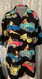FERRUCHE Vintage Cars & Pinup Girls  Black Men's Shirt Medium Button Down