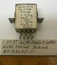 1 Latching Sealed Relay 4PDT, 6V DC, 10A Contacts, BABCOCK,  Lot 83, Made in USA