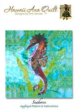 Tropical SEAHORSE Quilt Pattern Needle Turn Applique Sea Grass Kelp Ocean