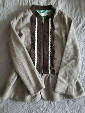 NWT 12 Persnickity  Herringbone Brown Corduroy Lace Trim Coat Jacket