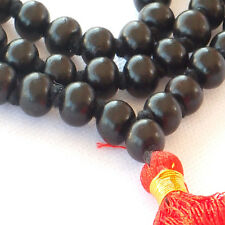 Mala Beads - Ebony - Hand Carved lustrous wood beads - for Royalty and Courage