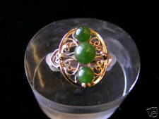 Sterling Silver Filigree 3 Beads Jade Ring Gold Plated