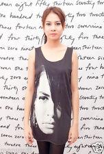 Aaliyah R & B Soul Jazz R.I.P. Art WOMEN Black T-SHIRT Tank TOP DRESS Size S M