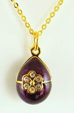 Sale Faberge Inspired Purple Rose Egg Pendant Necklace Gold-Plated with Crystals