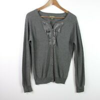 Eddie Bauer Women's Button Cardigan Gray Pleated Long Sleeve Sweater Gray Size L