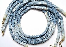 """NATURAL GEM PERUVIAN BLUE OPAL SMOOTH 4.5MM SQUARE HEISHI BEADS NECKLACE 16"""""""