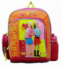 "BARBIE Pink Orange Small 12"" BACKPACK School Bag Travel Tote w/Drink Bottle NEW!"
