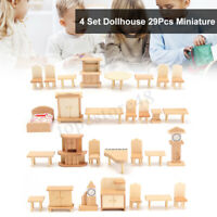 29Pcs 1:24 Scale Dollhouse Miniature Wooden Furniture Suite Accessories DIY Kit