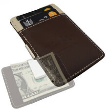 Mens Minimal Money Clip Wallet -Brown Cream- New Faux Leather Cash Card Holder