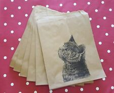 Kitten Cat Christmas Kraft Gift Bags - Vintage Style Set of 10 - Stocking Filler