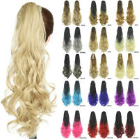 Ponytail Clip in Hair Extensions Long Curly Wavy Hair Piece Claw on  Pony  Tail