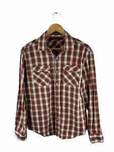 Sean John Button Up Shirt Mens Size M Red Check Long Sleeve Collar Tailored Fit