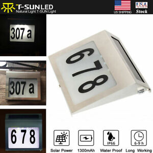 Solar Powered Door Plaque Light House Number Plaque Set  Sign Address Light US