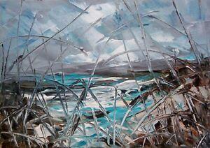 Semi Abstract Sea / Landscape Art. Original Acrylic Painting.