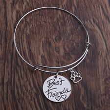 Best Friends Pendant Dog Paw Charm Silver Bangle Charm Bracelet Jewelry Gifts