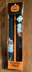 Vintage 2-Pack of Halloween Taper Candles Black Ghost Pumpkin Jack O Lantern