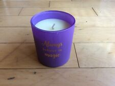 """""""Always Believe in Magic"""" Vanilla Scented Candle in Purple Frosted Glass NEW"""