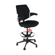 Humanscale Freedom MED Back Draughtsman Chair recovered in new black fabric