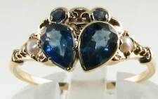 9K GOLD 9CT GOLD BLUE SAPPHIRE & PEARL CRAB ART DECO INS RNG FREE RESIZE