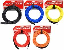 5 Rockville 25' Female Rean XLR to 1/4'' TRS  Cables (5  Colors)