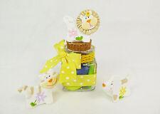 Bomboniera barattolo vetro nastro giallo animaletti colorati cresima comunione
